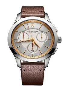 Victorinox Swiss Army Stainless Steel Chronograph Leather Strap Watch