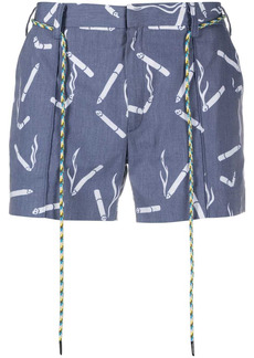 Viktor & Rolf cigarette-print drawstring-waist shorts