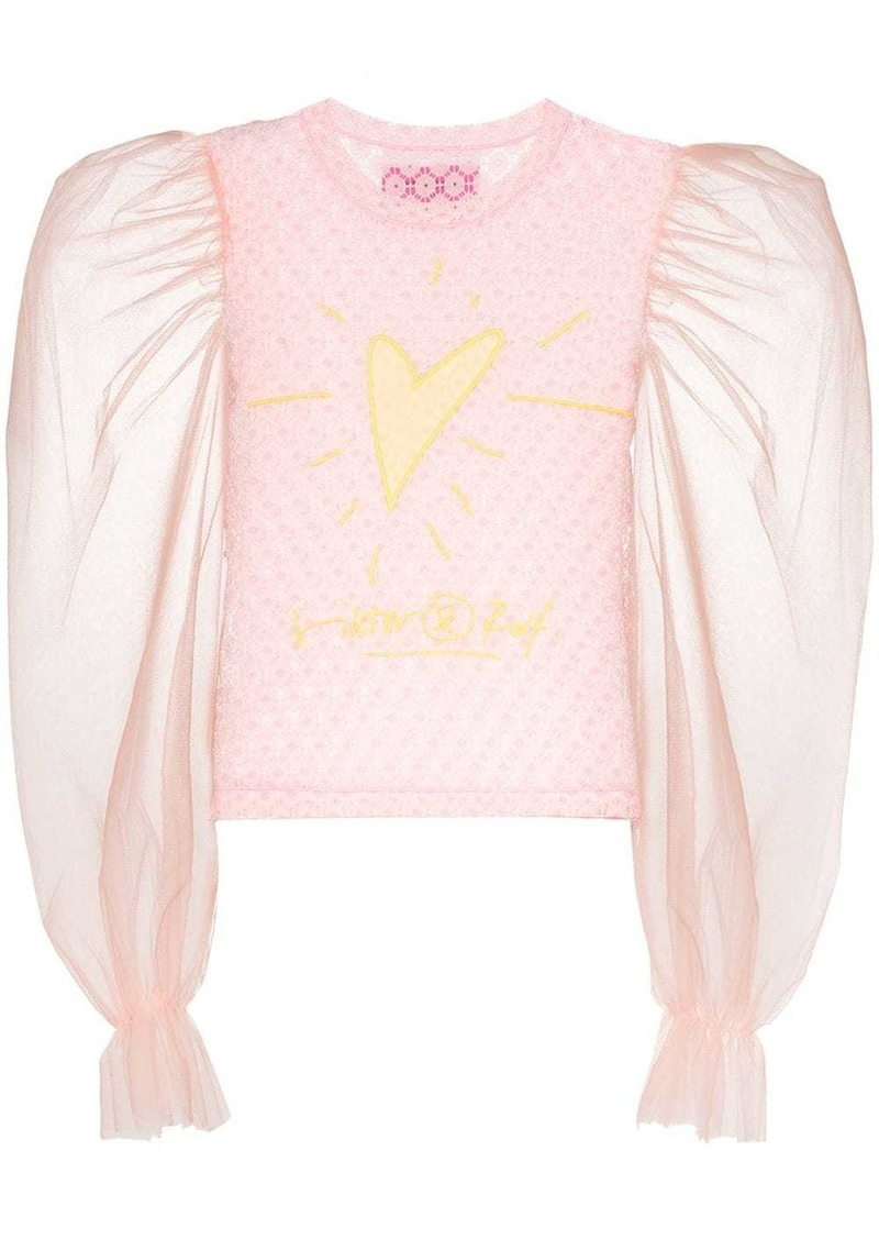 Viktor & Rolf heart-embroidered lace top