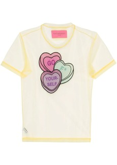 Viktor & Rolf Lovehearts-embroidered tulle T-shirt