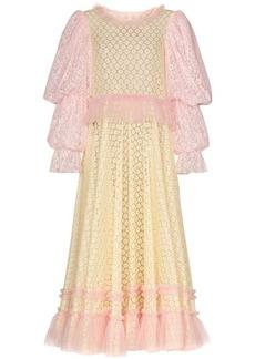 Viktor & Rolf pouf sleeve lace maxi dress