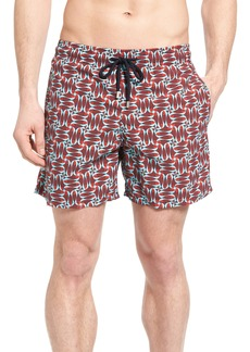 Vilebrequin Check Fish Print Swim Trunks