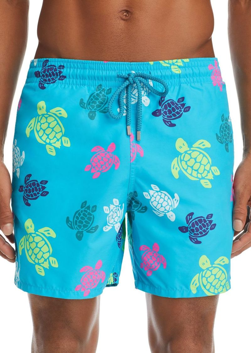 Vilebrequin Moorea Multicolored Turtle-Print Swim Shorts