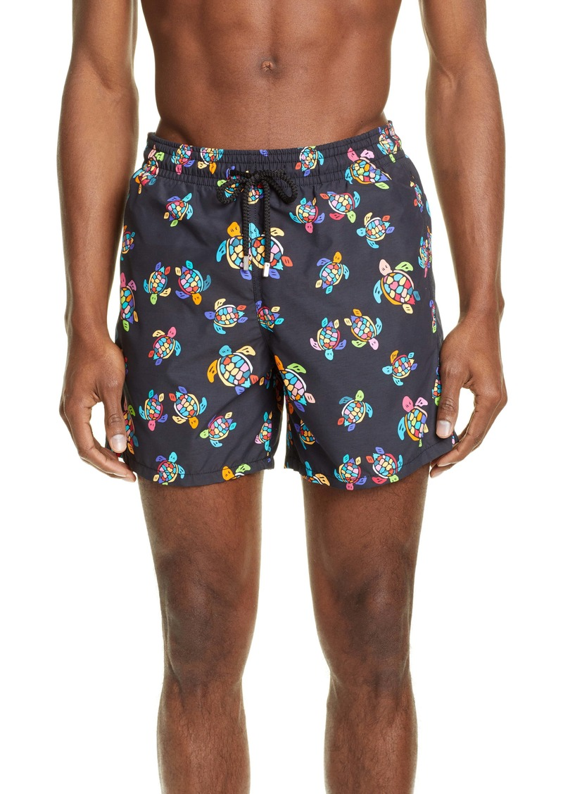 Vilebrequin Moorea Over the Rainbow Turtles Swim Trunks