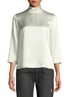 Vince 3/4-Sleeve Mock-Neck Silk Blouse