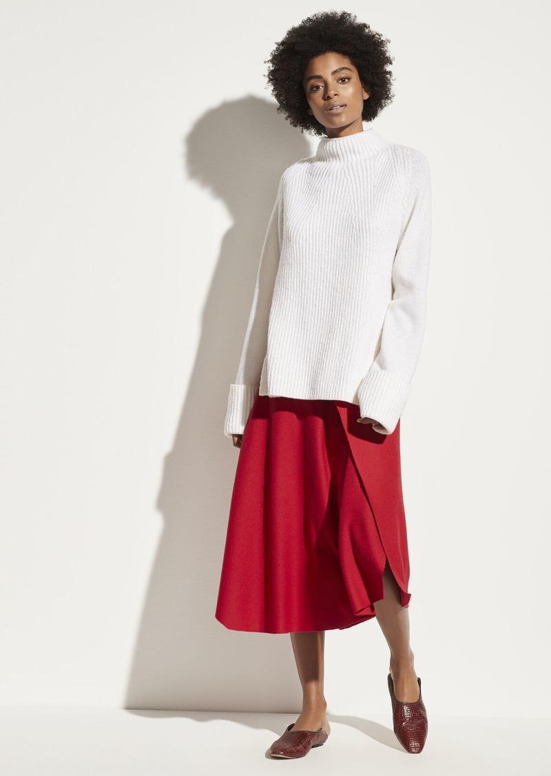Vince Asymmetric Drape Flannel Skirt
