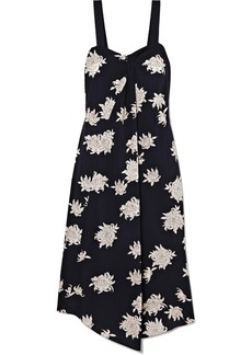 Vince Asymmetric Floral-print Silk-crepe Midi Dress