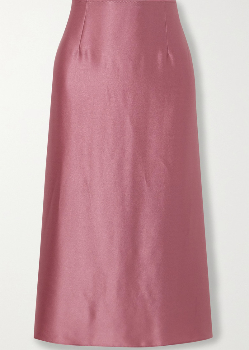 Vince Asymmetric Hammered Silk-satin Midi Skirt
