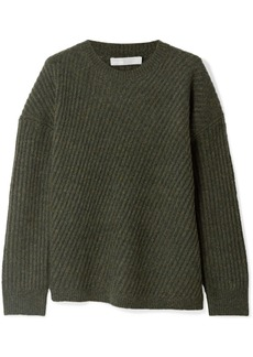 Vince Asymmetric Ribbed Wool-blend Sweater