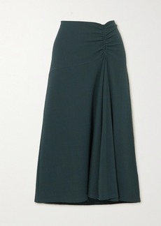 Vince Asymmetric Ruched Stretch-crepe Midi Skirt