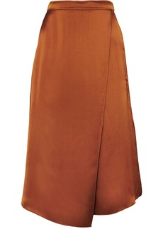 Vince Asymmetric Wrap-effect Silk-satin Skirt