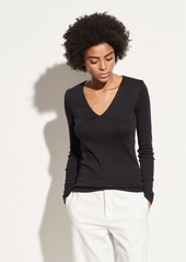 Vince Baby Rib Long Sleeve V-Neck