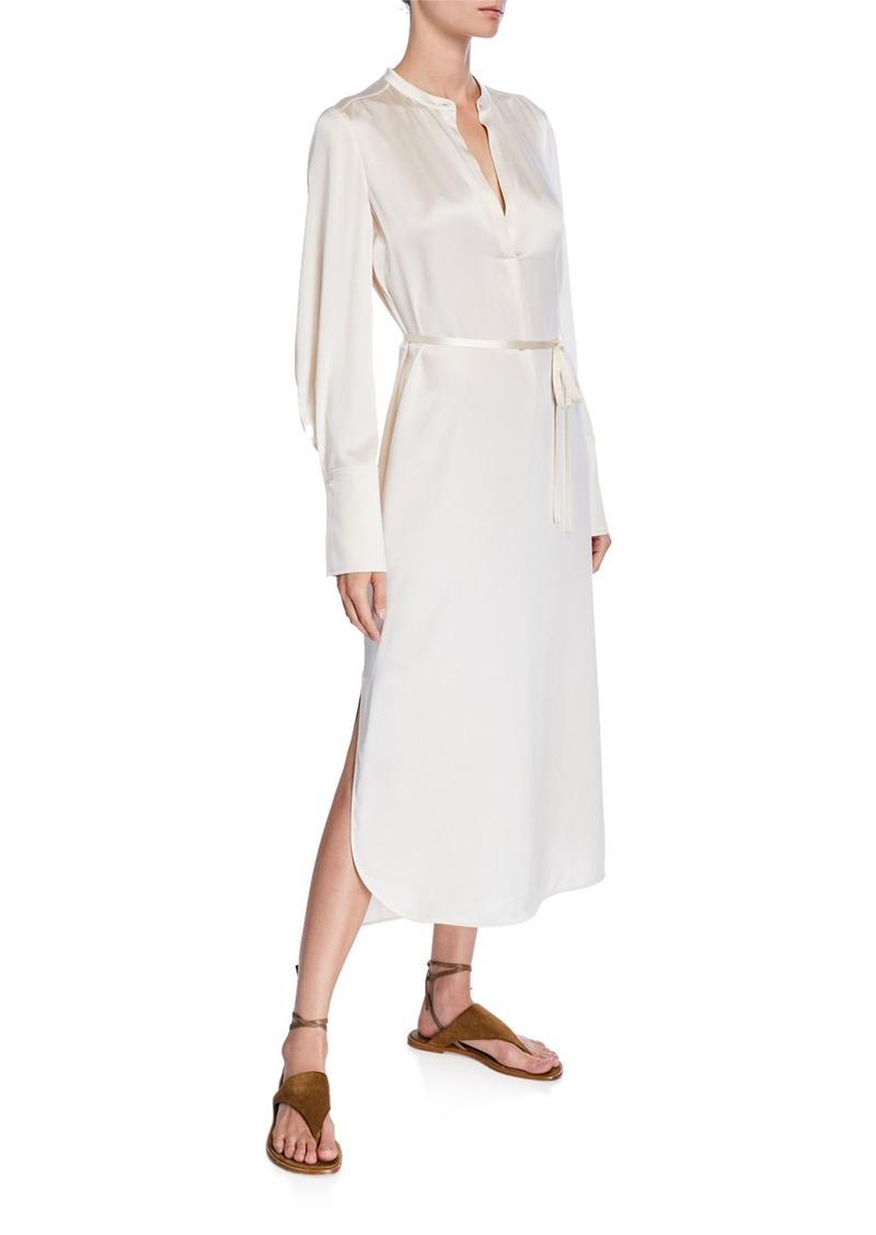 Vince Band-Collar Silk Midi Shirt Dress