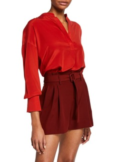 Vince Band-Collar Silk Popover Blouse