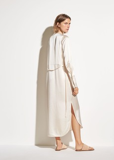 Vince Band Collar Silk Shirt Dress
