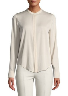 Vince Banded Collar Stretch-Silk Blouse