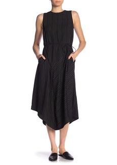 Vince Bar Stripe Sleeveless Waist Tie Dress