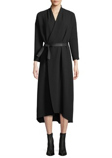 Vince Belted 3/4-Sleeve Wrap Midi Dress