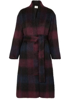 Vince Belted Checked Brushed Wool-blend Coat