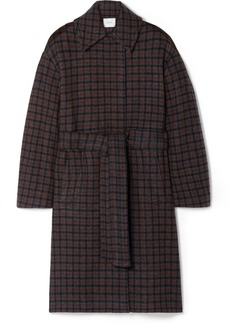 Vince Belted Checked Wool-blend Coat