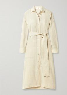 Vince Belted Cotton-blend Shirt Dress