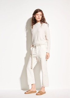 Belted Crop Stretch-Cotton Flare