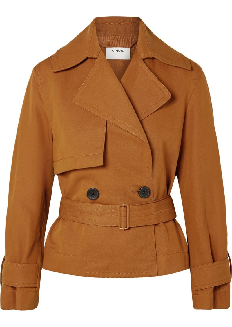 Vince Belted Linen And Cotton-blend Twill Jacket