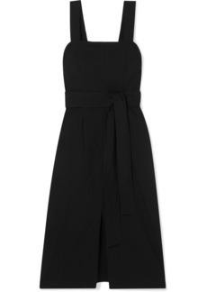 Vince Belted Linen-blend Midi Dress