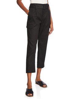 Vince Belted Linen Straight-Leg Pants