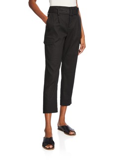 Vince Belted Linen Straight-Leg Pants