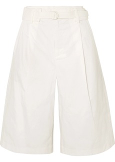 Vince Belted Pleated Cotton-blend Twill Shorts