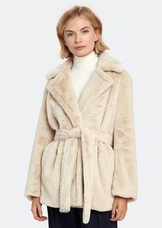 Vince Belted Plush Faux Fur Coat