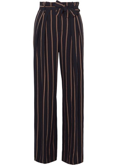 Vince Belted Striped Crepe Wide-leg Pants