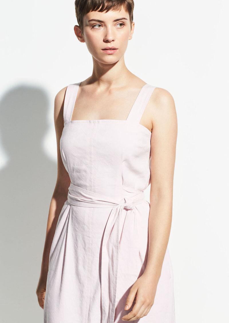 Vince Belted Wide Strap Linen Dress