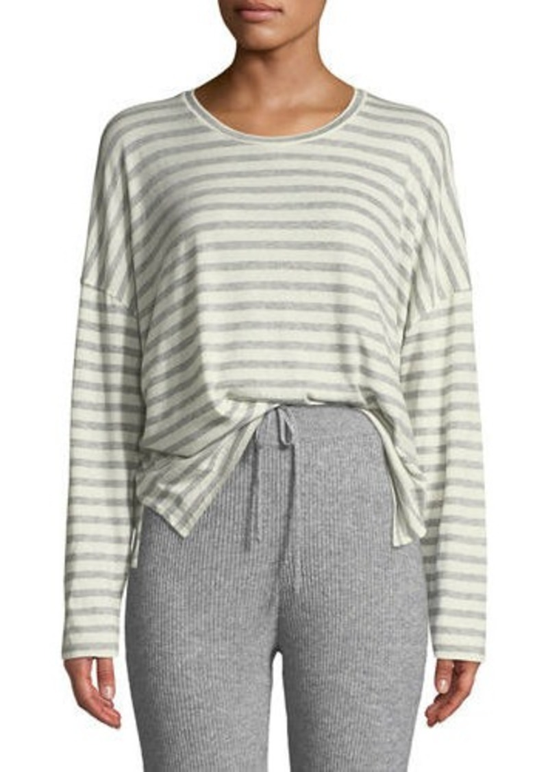Vince Bengal-Stripe Scoop-Neck Long-Sleeve Cotton Tee