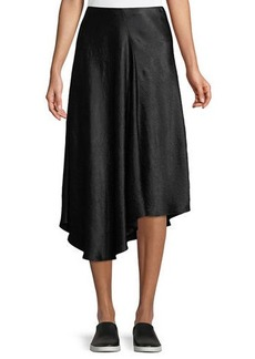 Vince Bias-Cut Asymmetric Midi Skirt
