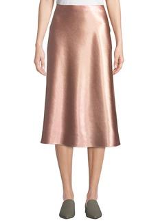 Vince Bias-Cut Satin Midi-Length Slip Skirt