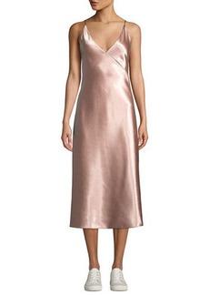 Vince Bias V-Neck Midi Slip Dress