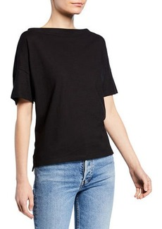 Vince Boat-Neck Short-Sleeve Cotton Tee