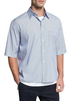 Vince Boxy-Fit Pleated Short-Sleeve Shirt