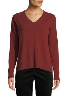 Vince Boxy V-Neck Wool-Blend Top