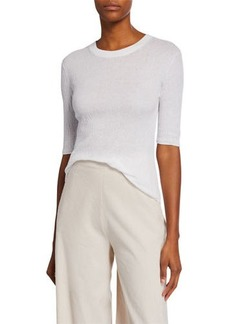 Vince Broomstick Pleat Crewneck Elbow-Sleeve Top