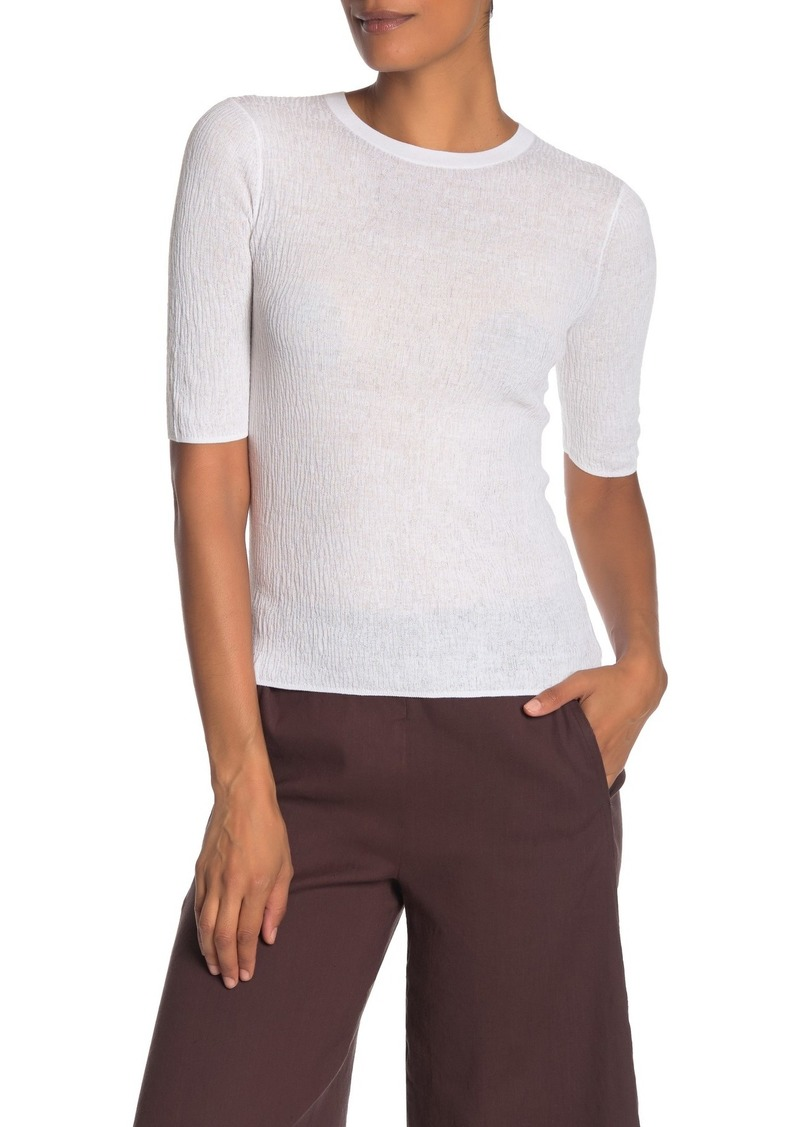 Broomstick Pleat Elbow Sleeve T-Shirt
