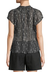 Vince Brushstroke Flutter-Sleeve Silk Top