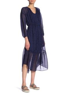 Vince Brushstroke Silk Midi Dress