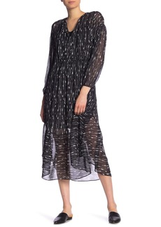 Vince Brushstroke Silk Midi Dress