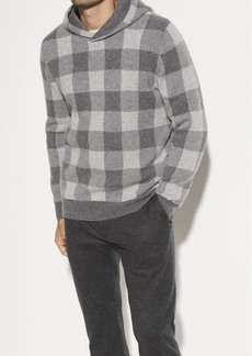 Vince Buffalo Check Boiled Cashmere Hoodie