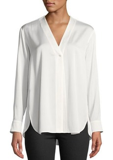 Vince Button-Down Long-Sleeve Silk Top