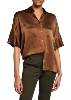 Vince Button-Down Short-Sleeve Silk Satin Blouse