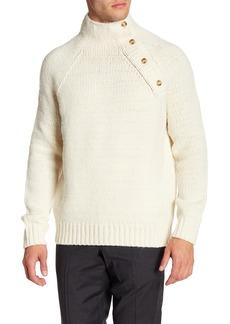 Vince Button Neck Wool Blend Knit Sweater
